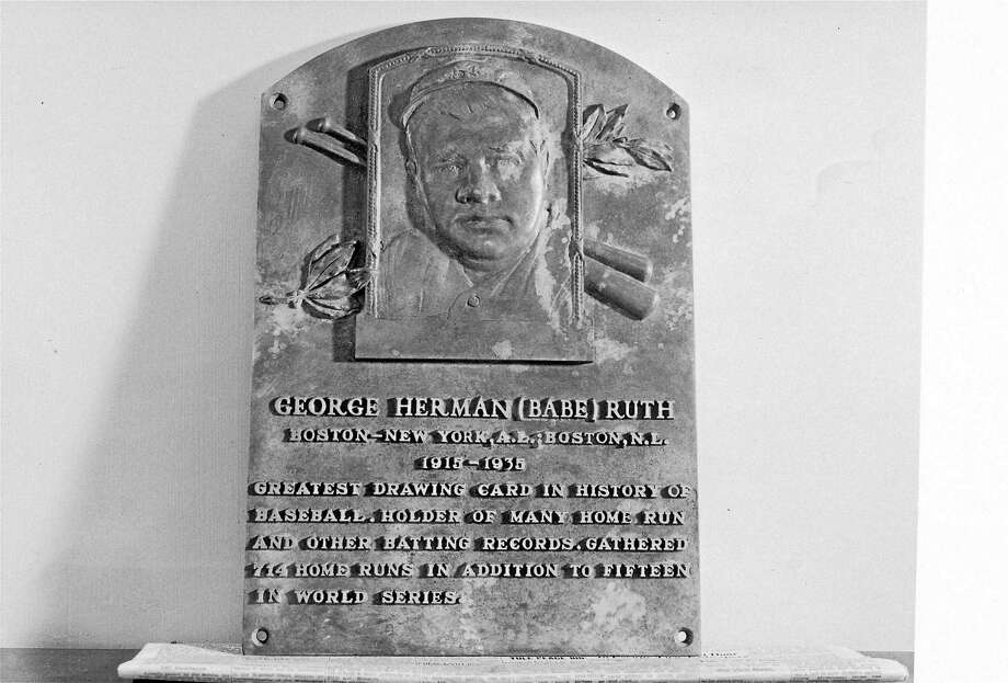 Babe Ruth's Hall of Fame plaque at Cooperstown, New York. Ruth was elected in 1936. Photo: The Associated Press File Photo  / AP