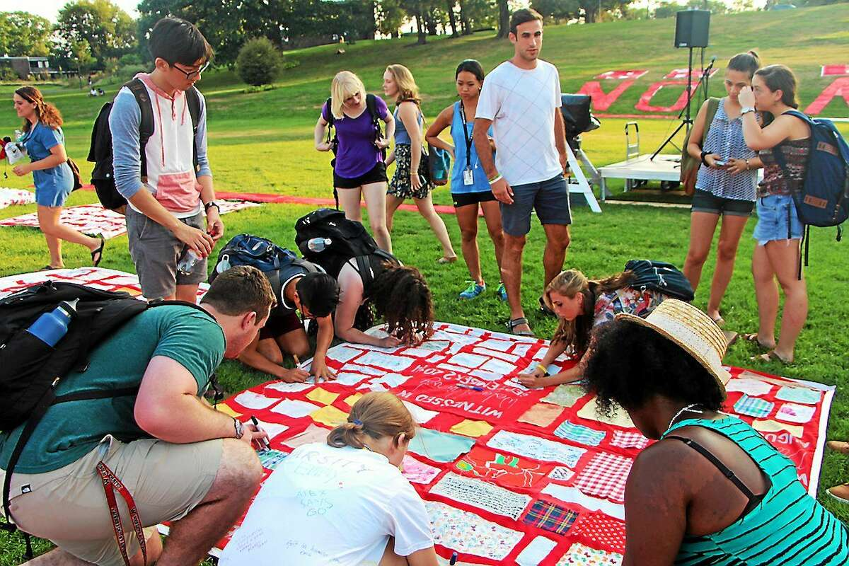 The Monument Quilt, displaying stories of survivors of sexual violence, was on view at Wesleyan University on Sept. 2 in Middletown.