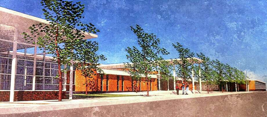 Plan by The SLAM Collaborative ¬ The proposed front entrance of East Hampton High School. Photo: Journal Register Co.