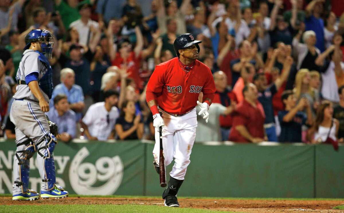 The Red Sox's Yoenis Cespedes watches his game-winning RBI single in the 10th inning of a 9-8 win over the Toronto Blue Jays on Friday night at Fenway Park in Boston.