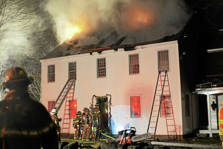 A fire at 4 Fritz Road in Killingworth Tuesday night damaged a local home. Photo: Olivia Drake — Special To The Press