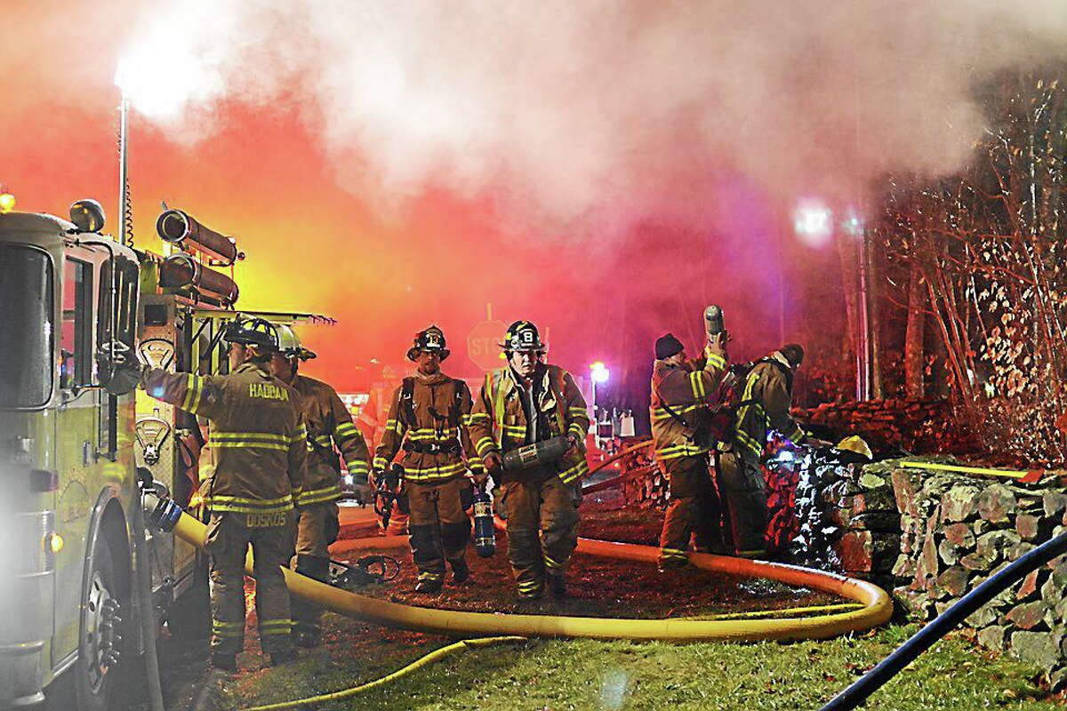 Haddam firefighters provided assistance at the scene of the Killingworth fire Tuesday evening.