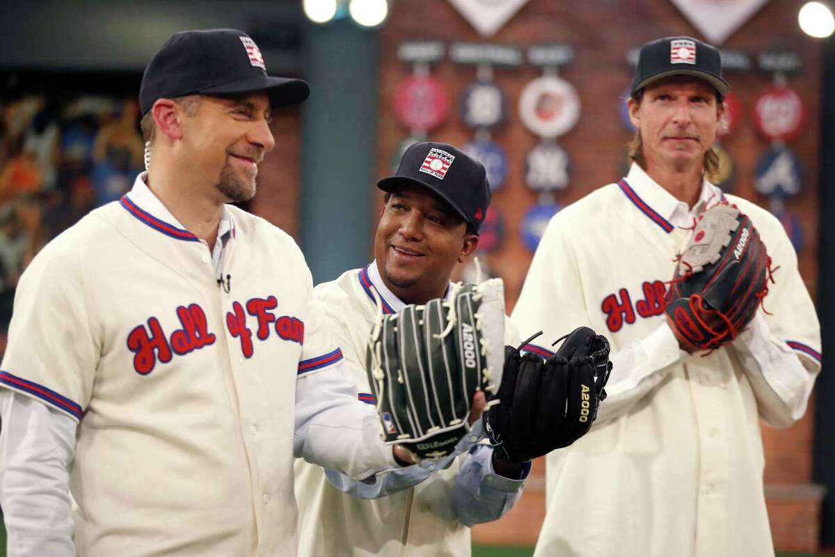 National Baseball Hall of Fame inductees, from left, John Smoltz, Pedro Martinez and Randy Johnson tape a show at MLB Network's Studio 42 following a Wednesday press conference in Secaucus, N.J.