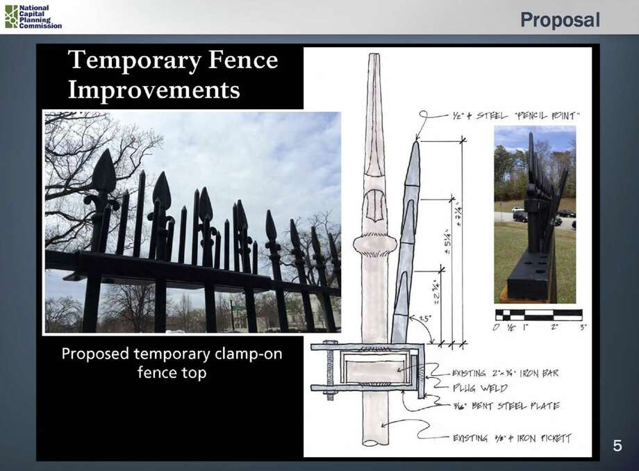 This handout image provided by the National Capital Planning Commission shows a diagram of a proposal for a temporary fence improvement at the White House. The Secret Service is planning to attach a second layer of steel spikes to the top of the White House fence to keep would-be fence jumpers out. Photo: National Capital Planning Commission Via AP  / National Capital Planning Commission