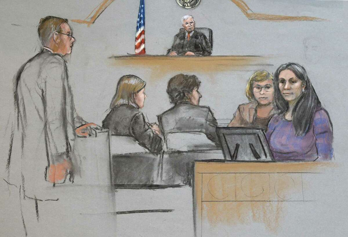 In this courtroom sketch, Raisat Suleimanova, right, is depicted testifying alongside an interpreter during the penalty phase in the trial of her cousin Dzhokhar Tsarnaev, center, Monday, May 4, 2015, in federal court in Boston. Tsarnaev was convicted of the Boston Marathon bombings that killed three and injured 260 people in April 2013.