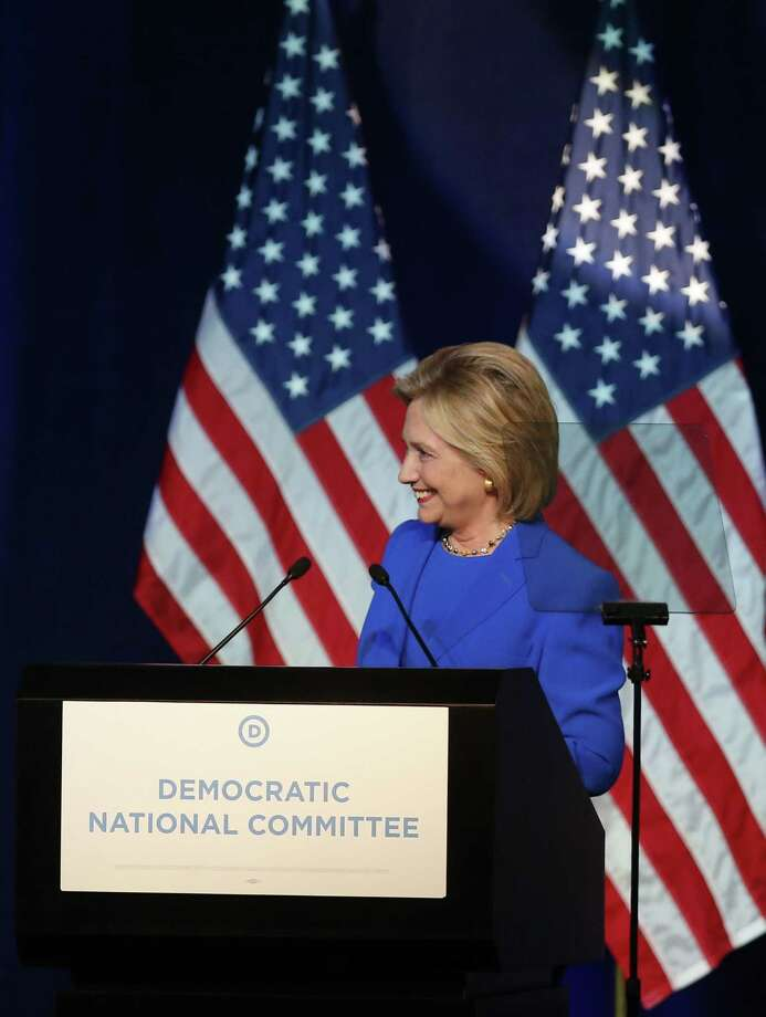 Democratic presidential candidate, Hillary Rodham Clinton, addresses the summer meeting of the Democratic National Committee on Aug. 28, 2015 in Minneapolis. Photo: AP Photo/Jim Mone  / AP