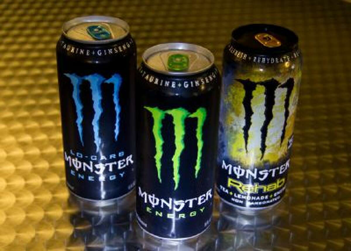A variety of Monster Energy drinks.