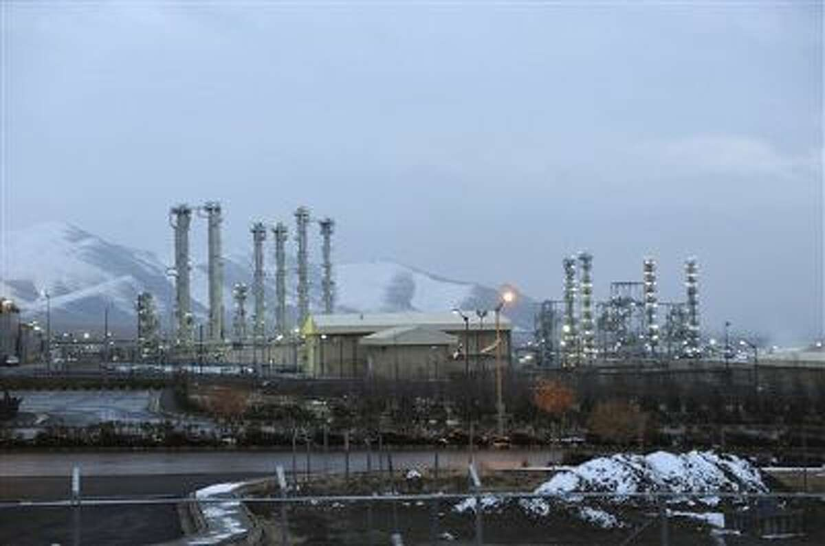 Iran's heavy water nuclear facility near the central city of Arak is backdropped by mountains.