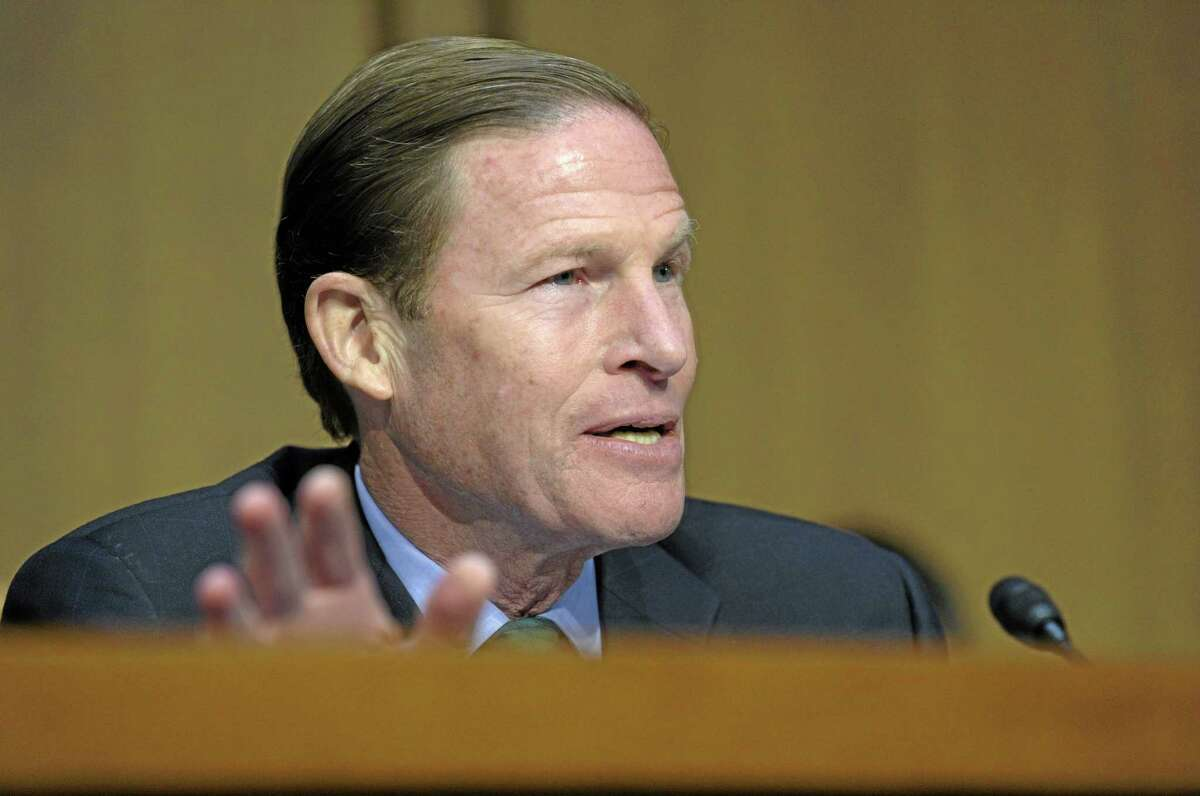 Senate Judiciary Committee member Sen. Richard Blumenthal, D-Conn. gestures as he speaks during the committee's hearing on the Assault Weapons Ban of 2013, Wednesday, Feb. 27, 2013, on Capitol Hill in Washington. (AP Photo/Susan Walsh)