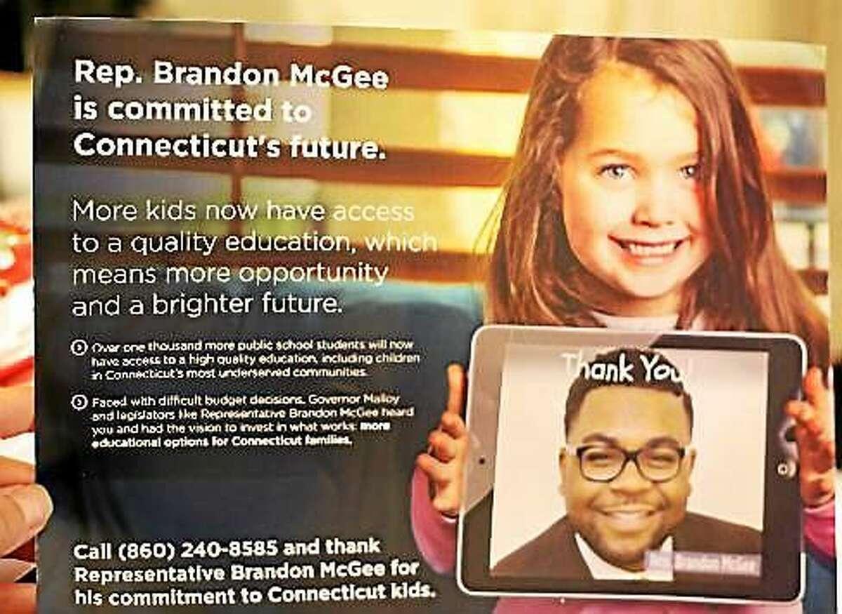 Mailer sent to thank legislator for charter school funding.