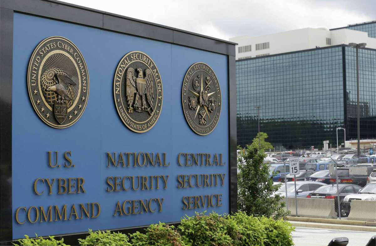 A sign stands outside the National Security Agency (NSA) campus in Fort Meade, Md.