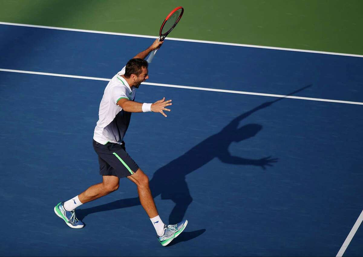 Marin Cilic reacts after defeating Tomas Berdych during the quarterfinals of the U.S. Open on Thursday in New York.