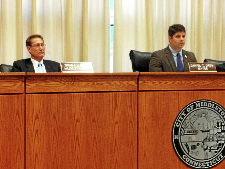From left are Middletown Common Council Majority Leader Tom Serra and Mayor Daniel Drew, both of whom spoke at Wednesday night's public hearing about turf on city fields. Photo: Brian Zahn — The Middletown Press
