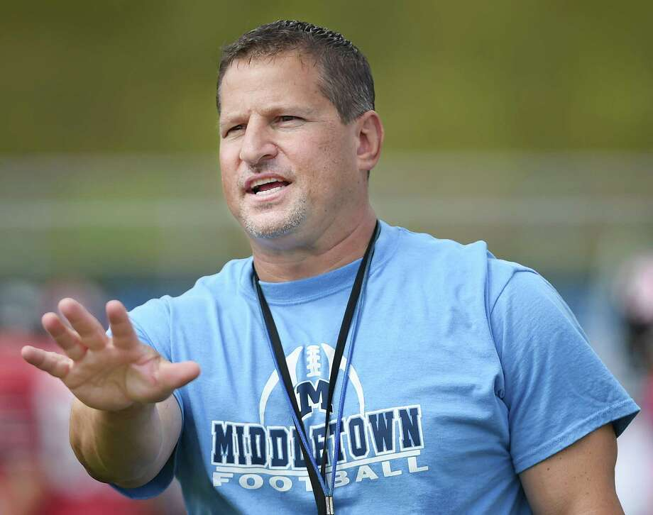 Middletown High School head football coach, Sal Morello at a scrimmage Saturday morning. Photo: Catherine Avalone — The Middletown Press  / The Middletown Press