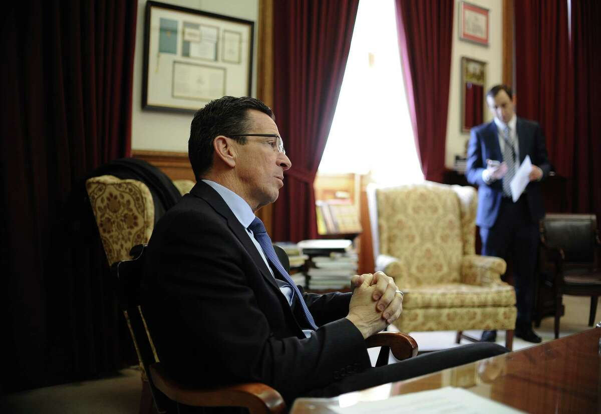 Gov. Dannel P. Malloy is interviewed in his office at the state Capital before he is sworn in for his second term Wednesday in Hartford.