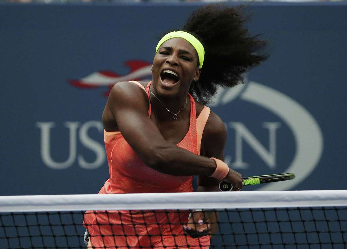 Serena Williams follows through as she returns a shot to Kiki Bertens during the second round of the U.S. Open on Wednesday in New York.