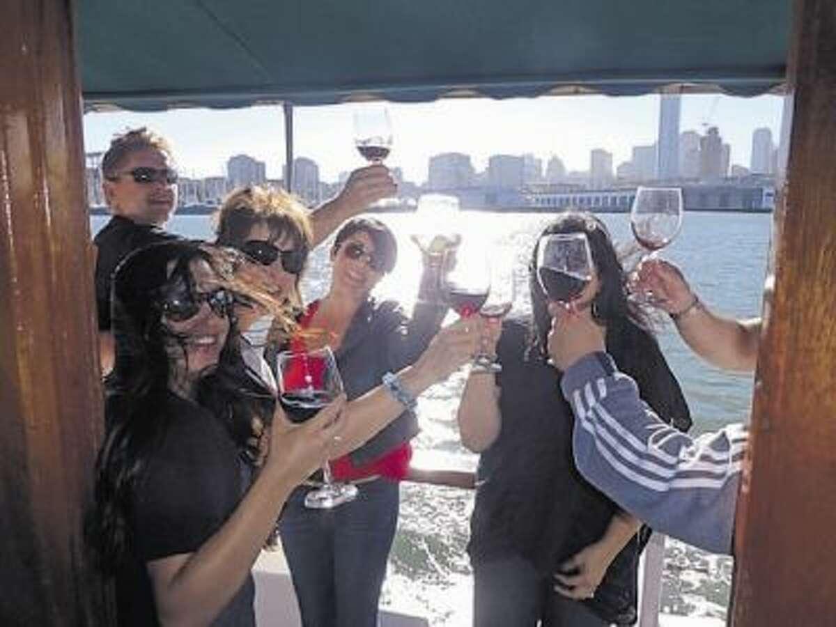 Wine lovers can tour the Bay Bridge wineries on Treasure Island via a retro 1950s cruise boat.