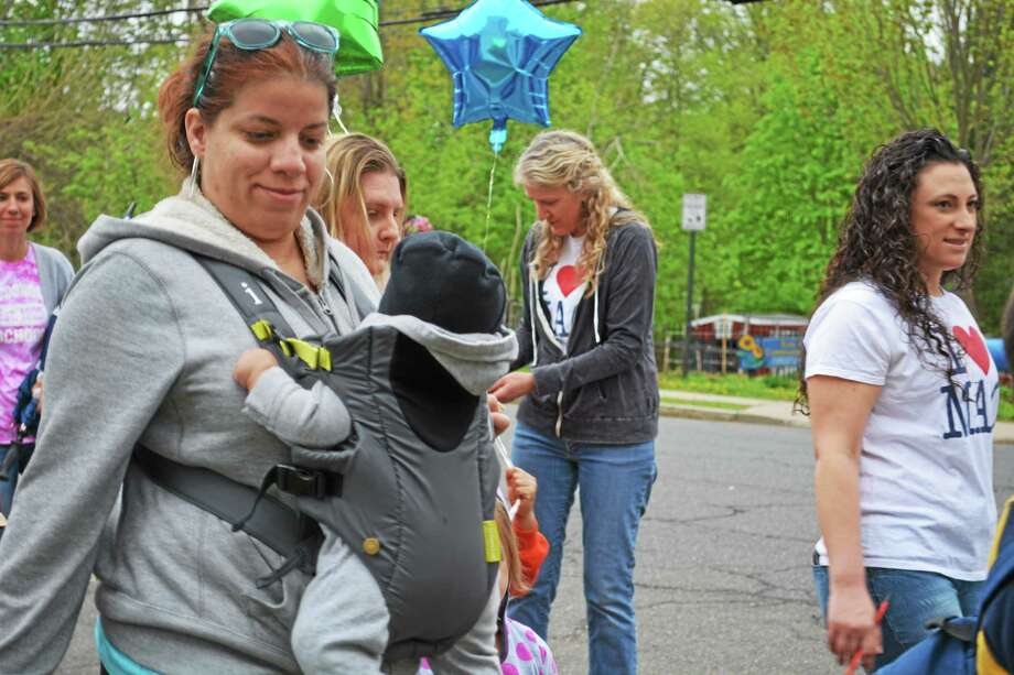 Macdonough staff and students observed International Walk to School Day this week in Middletown. Photo: Brian Zahn — The Middletown Press