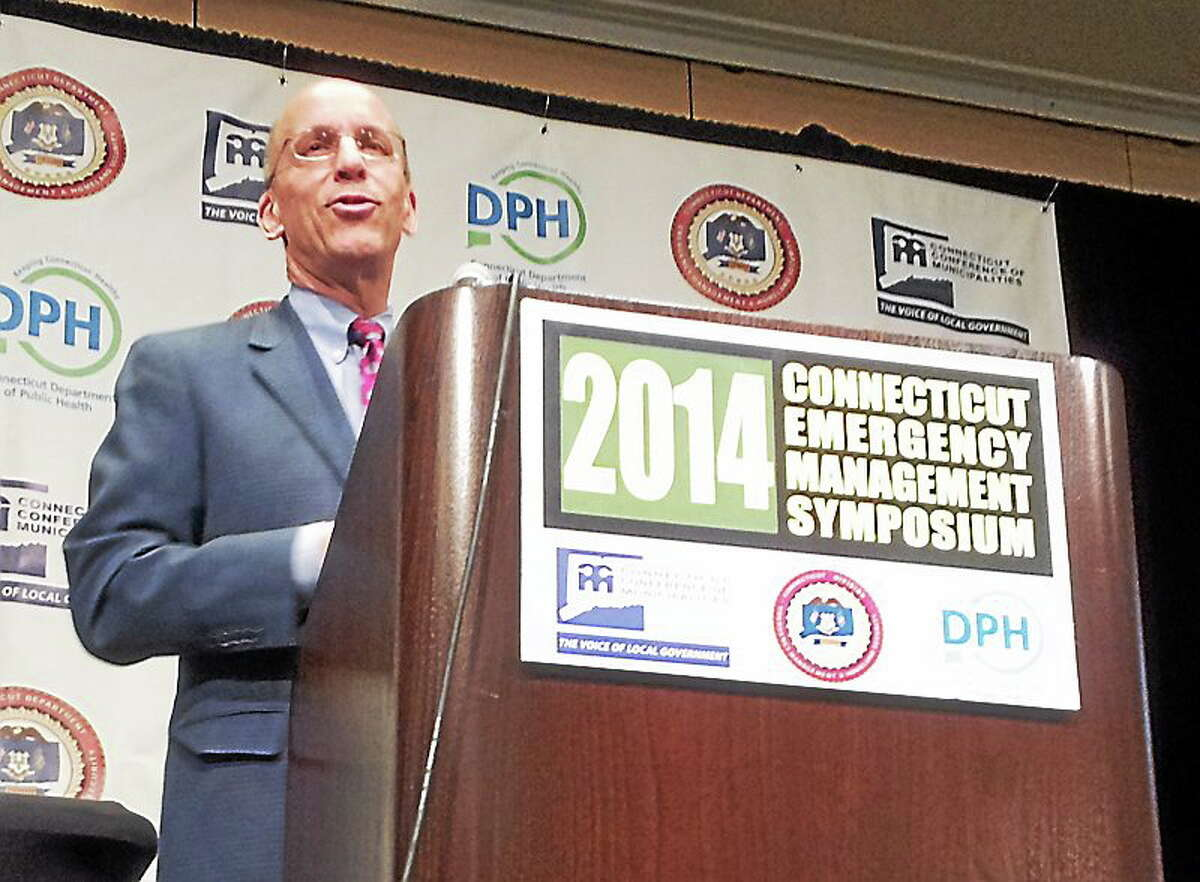 Kurt N. Schwartz, who oversaw the response to the 2013 bombing, speaks in Cromwell Tuesday.