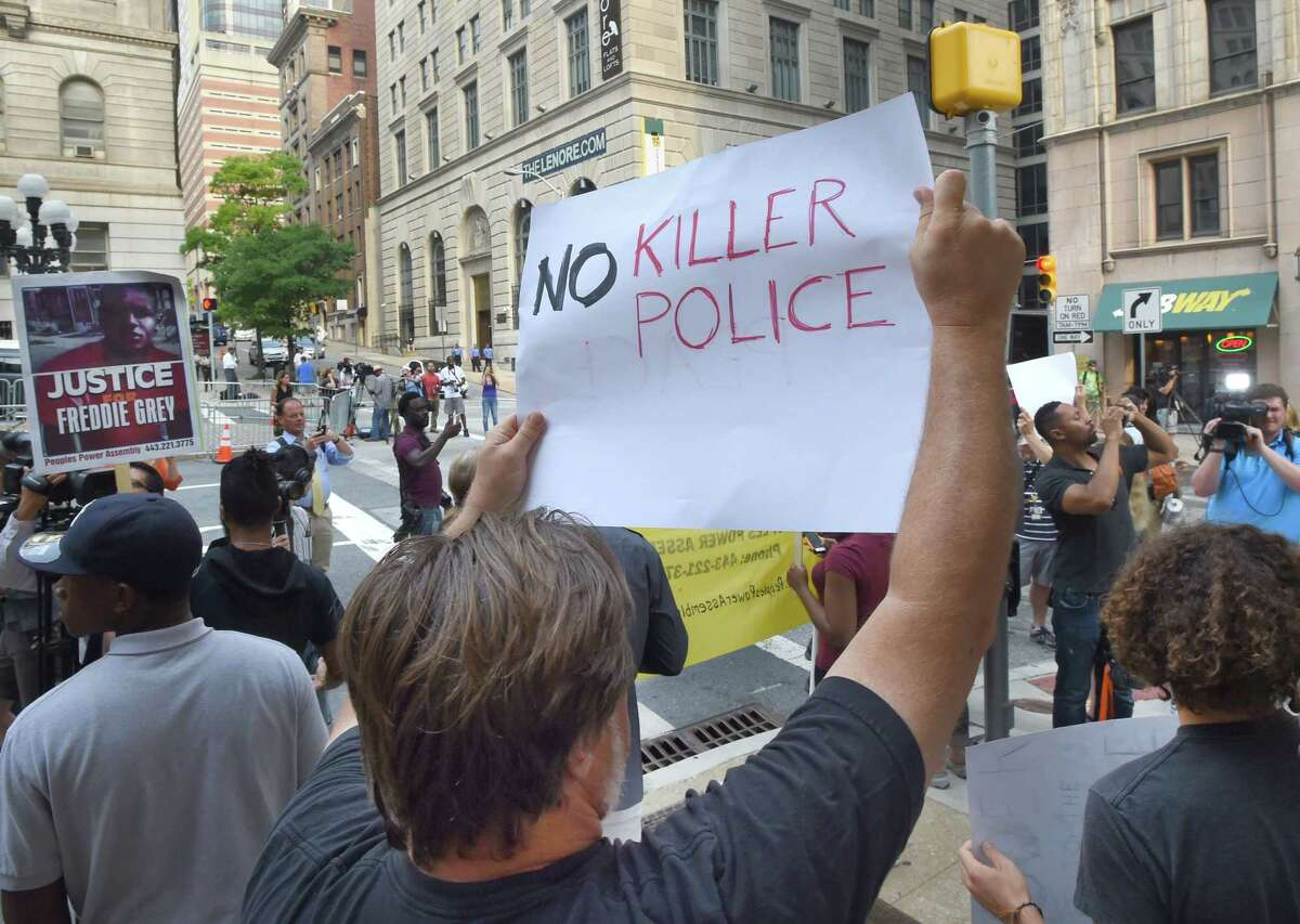 Baltimore, Md. Protesters gather at the court house prior to the hearing. The first motions hearing in the Freddie Gray case will be held at 9:30 a.m. in Baltimore Circuit Court on Sept. 2.
