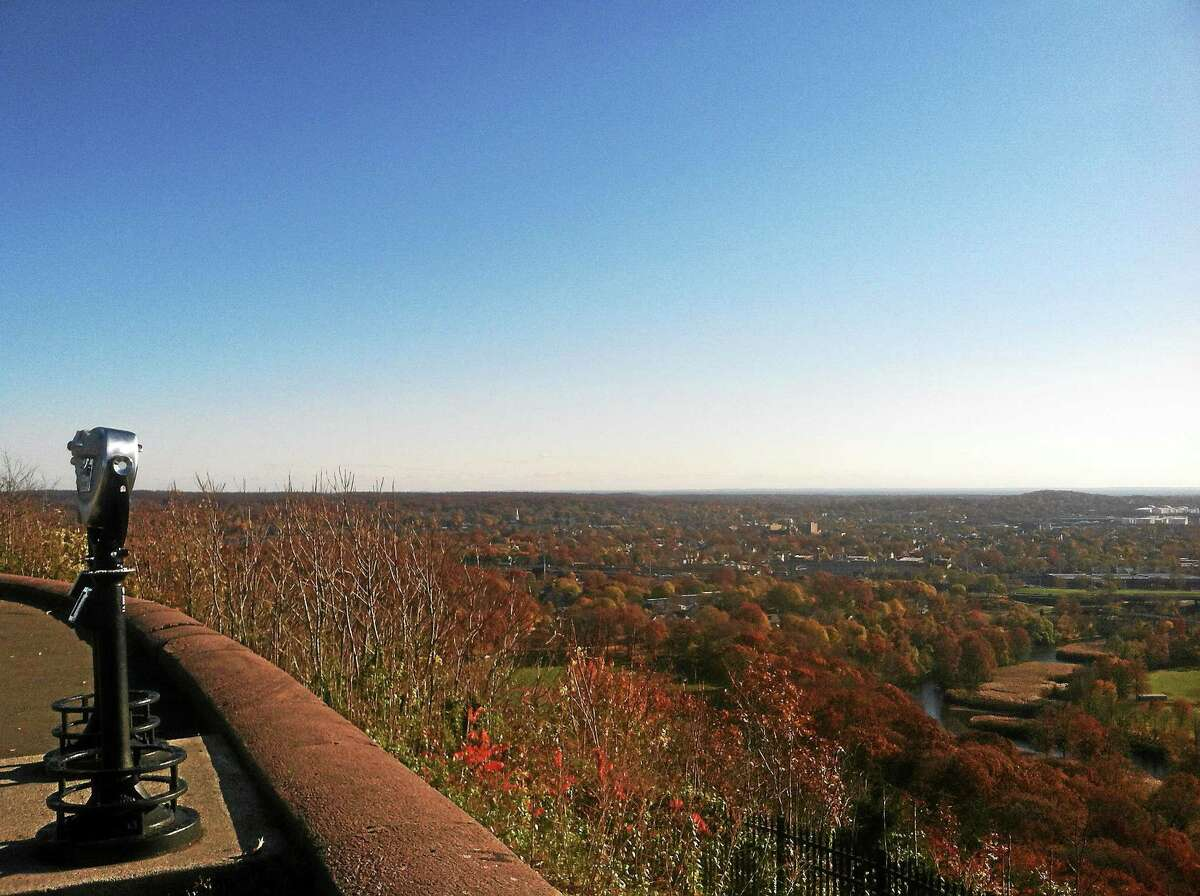 The fall view from East Rock Park in New Haven shows a well treed city