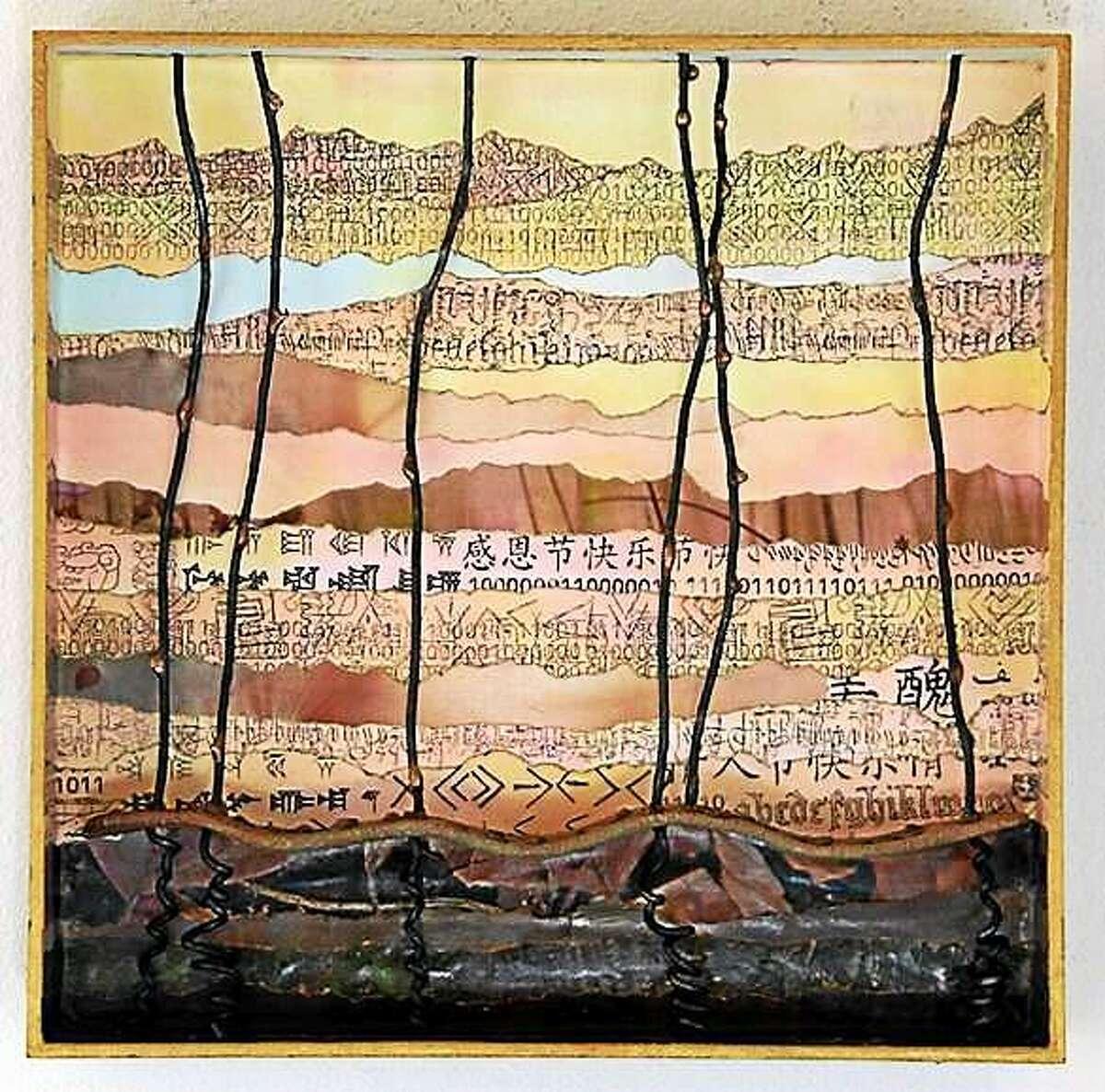 Photo by Ashby Carlisle) ìSpring!î Ashby Carlisle, 10x10x2.5, paper, metal and clay