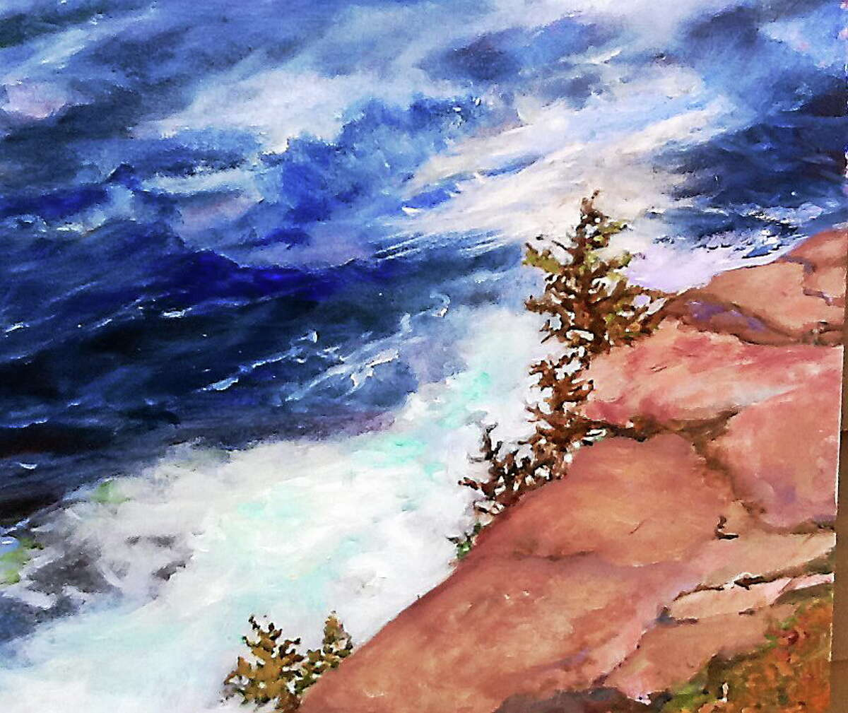 Submitted photos courtesy of the artist Monhegan by Karen Wiesner, is on display at Liberty Bank in Clinton.