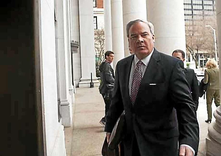 Former Gov. john g. Rowland outside federal court in New Haven Wednesday. his trial is being held in U.S. District Court Photo: (Douglas Healey Photo)