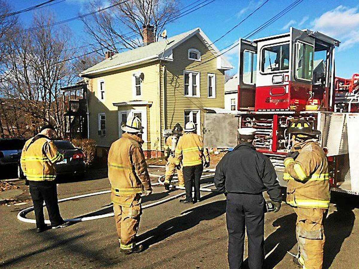 The Red Cross said that nine people were displaced after a fire Monday morning damaged a home on Maple Street in Meriden. Fire crews said a pan of unattended grease caught fire in the kitchen and that flames spread quickly.