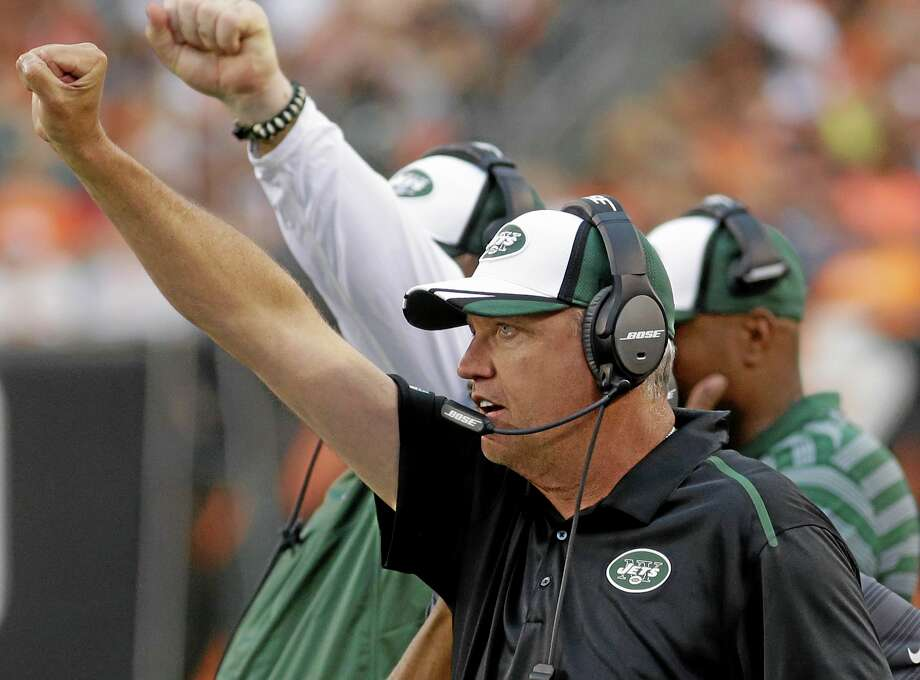 New York coach Rex Ryan calls a play from the sidelines during the Jets' Aug. 16 preseason game in Cincinnati against the Bengals. Photo: Tom Uhlman — The Associated Press File Photo  / FR31154 AP