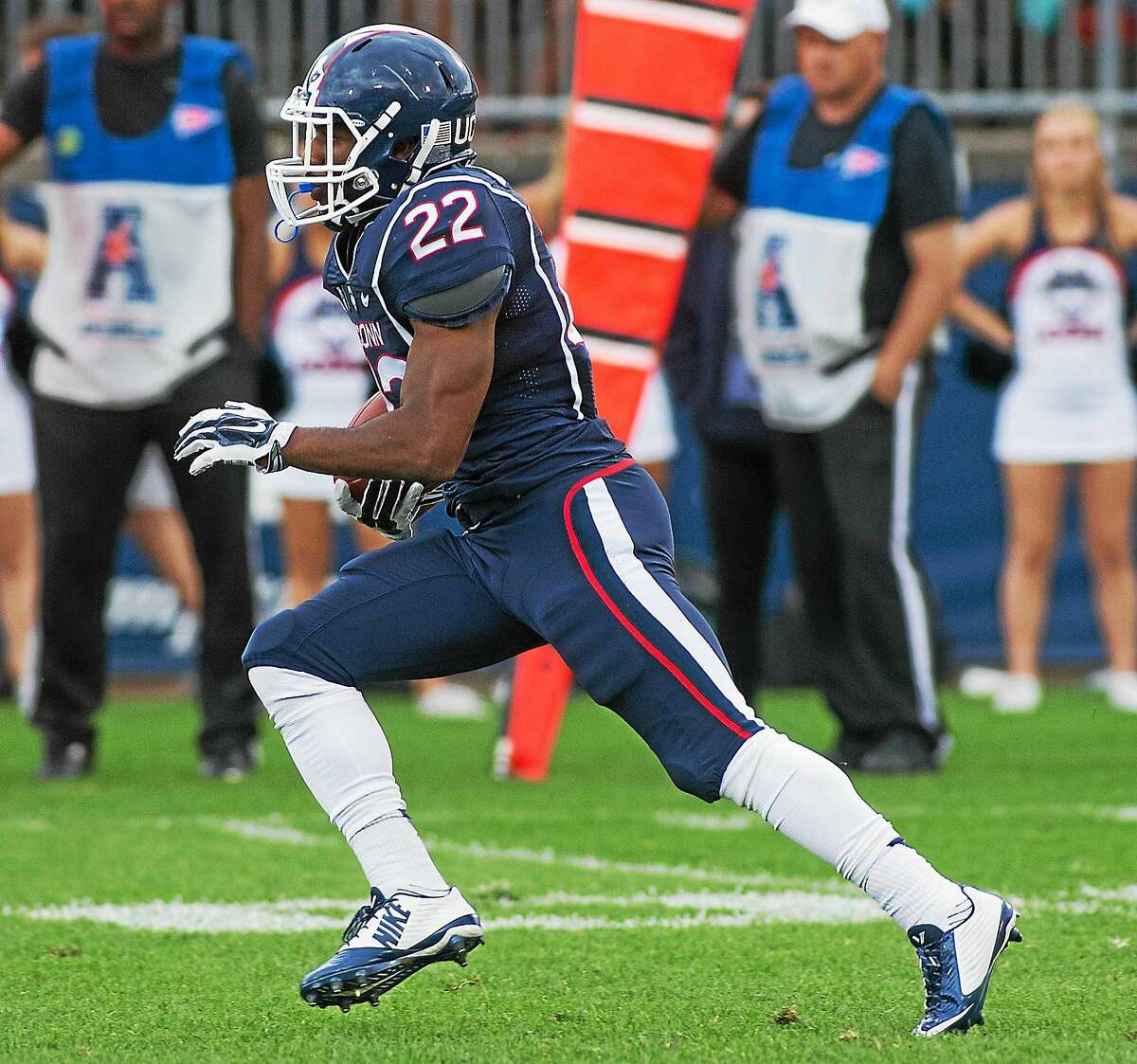 Ansonia's Arkeel Newsome is listed as a co-starter at running back on the UConn depth chart.