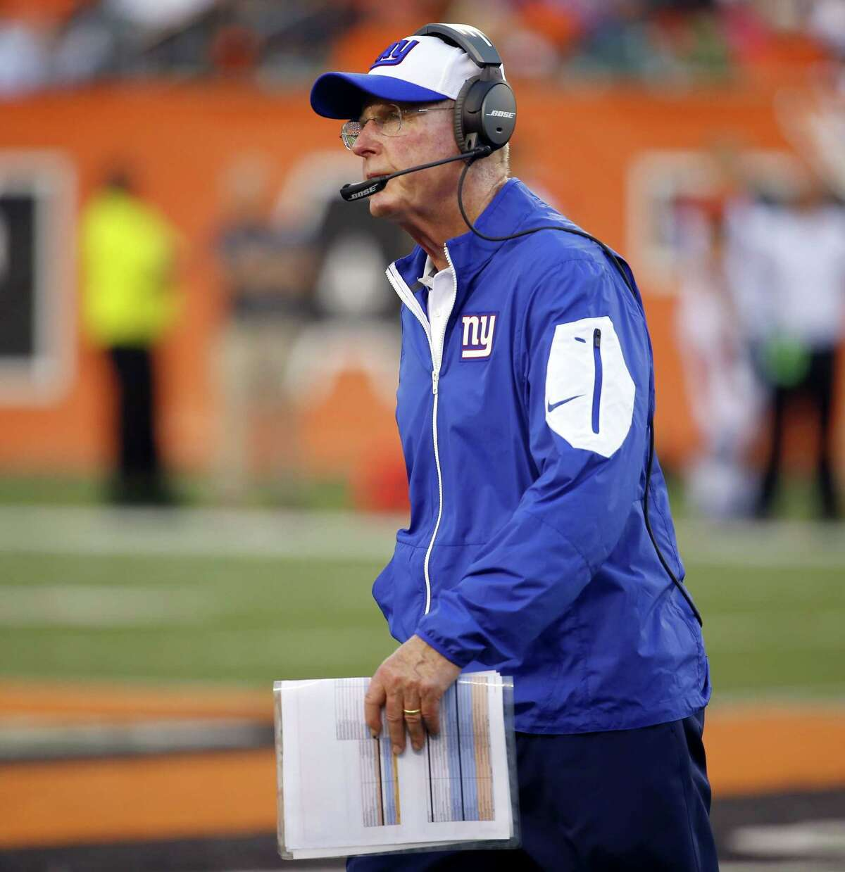 New York Giants head coach Tom Coughlin watches his team during a preseason game against the Bengals on Aug. 14 in Cincinnati.