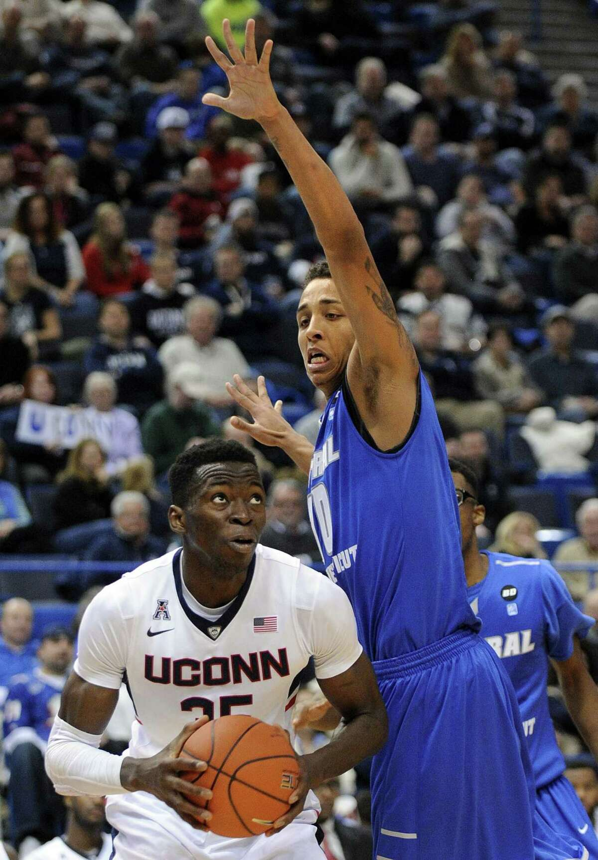 UConn's Amida Brimah had 10 rebounds in Saturday's win over Florida.
