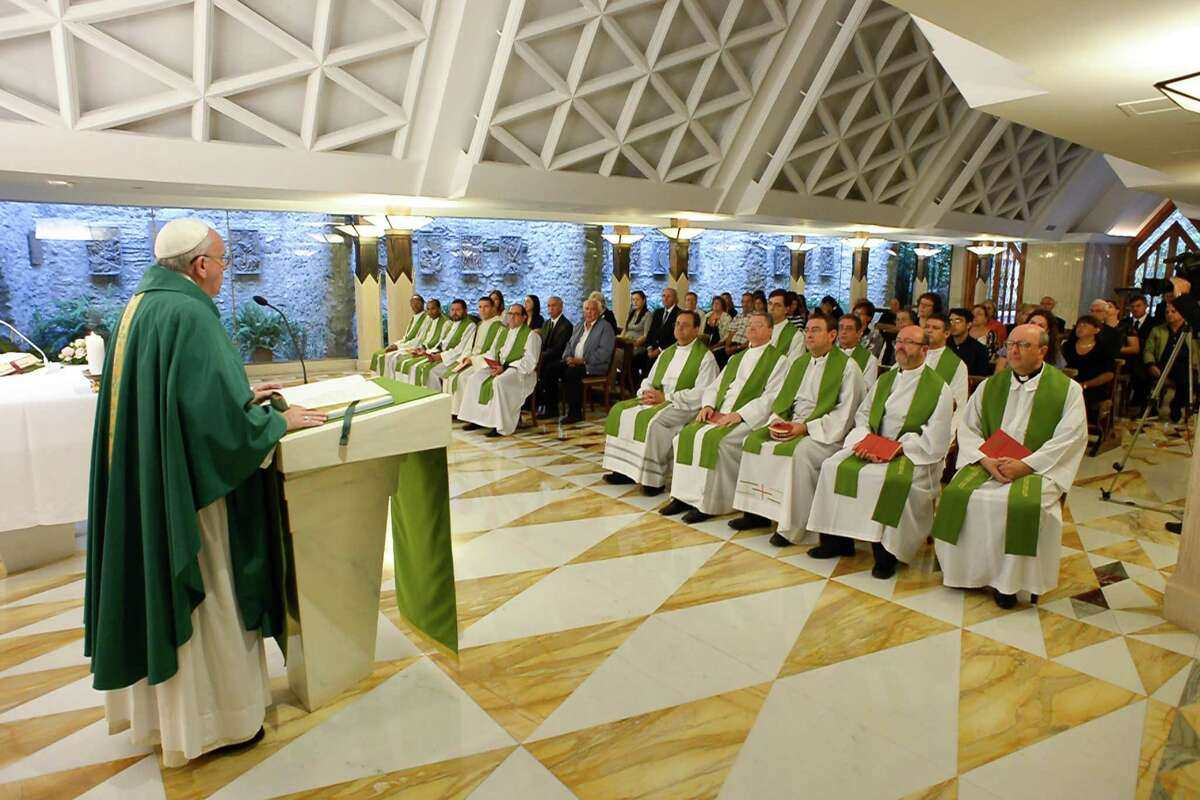 Pope Francis celebrates a Mass at the Vatican's Santa Marta hotel, Monday, Sept.1, 2015.