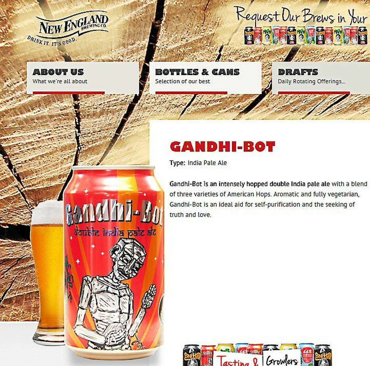 A screenshot of the New England Brewing Company's website shows the Gandhi-Bot label.