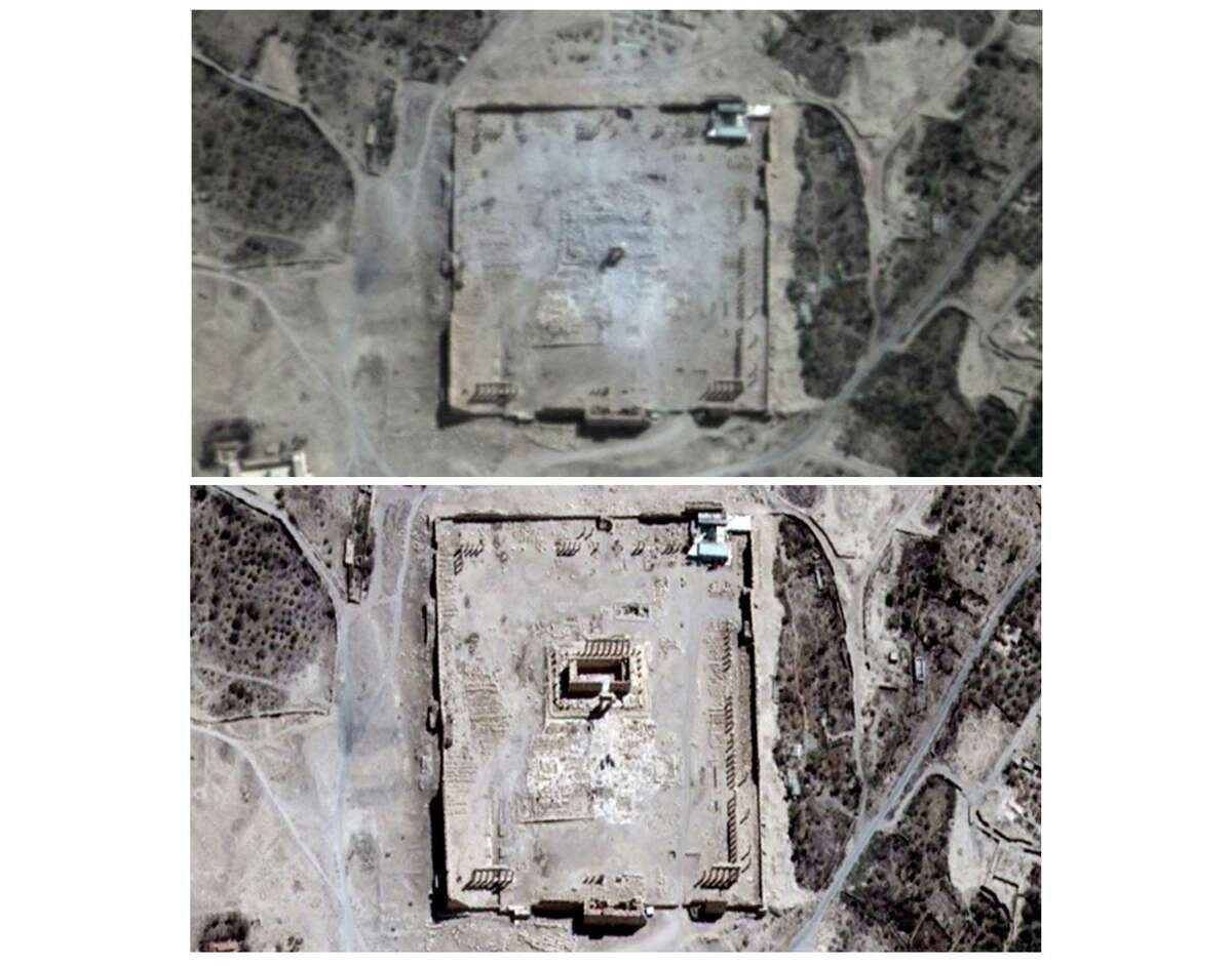 COMBO - This combination of two satellite images provided by UNITAR-UNOSAT shows damage to the main building of the ancient Temple of Bel in Palmyra, Syria on Monday, Aug. 31, 2015, top, and before the damage on Thursday, Aug. 27, 2015. The main building has been destroyed, a United Nations agency said on Monday, Aug. 31, 2015. The imagery was taken before and after a massive explosion was set off near the 2,000-year-old temple in the city occupied by Islamic State militants.