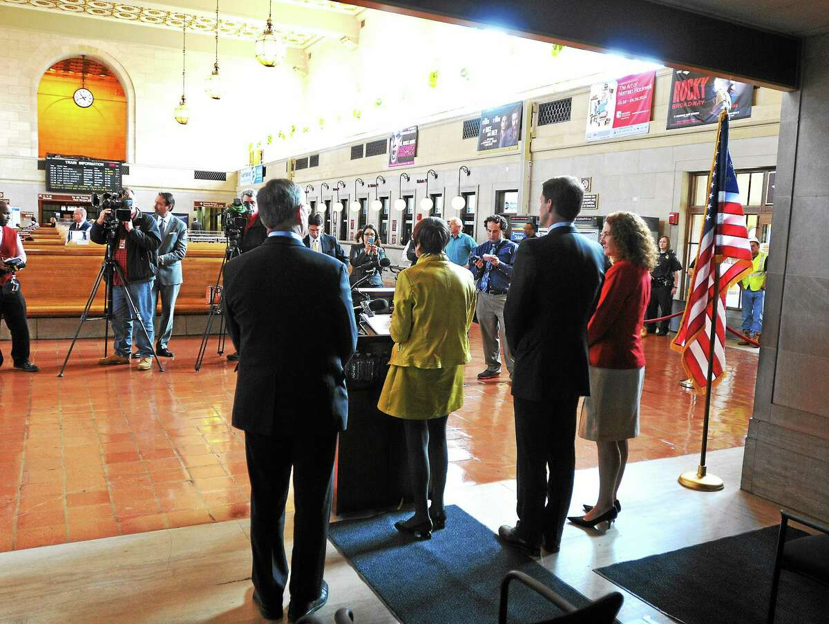 Lawmakers unveil a comprehensive rail safety plan at Union Station during a press conference Tuesday morning in New Haven.