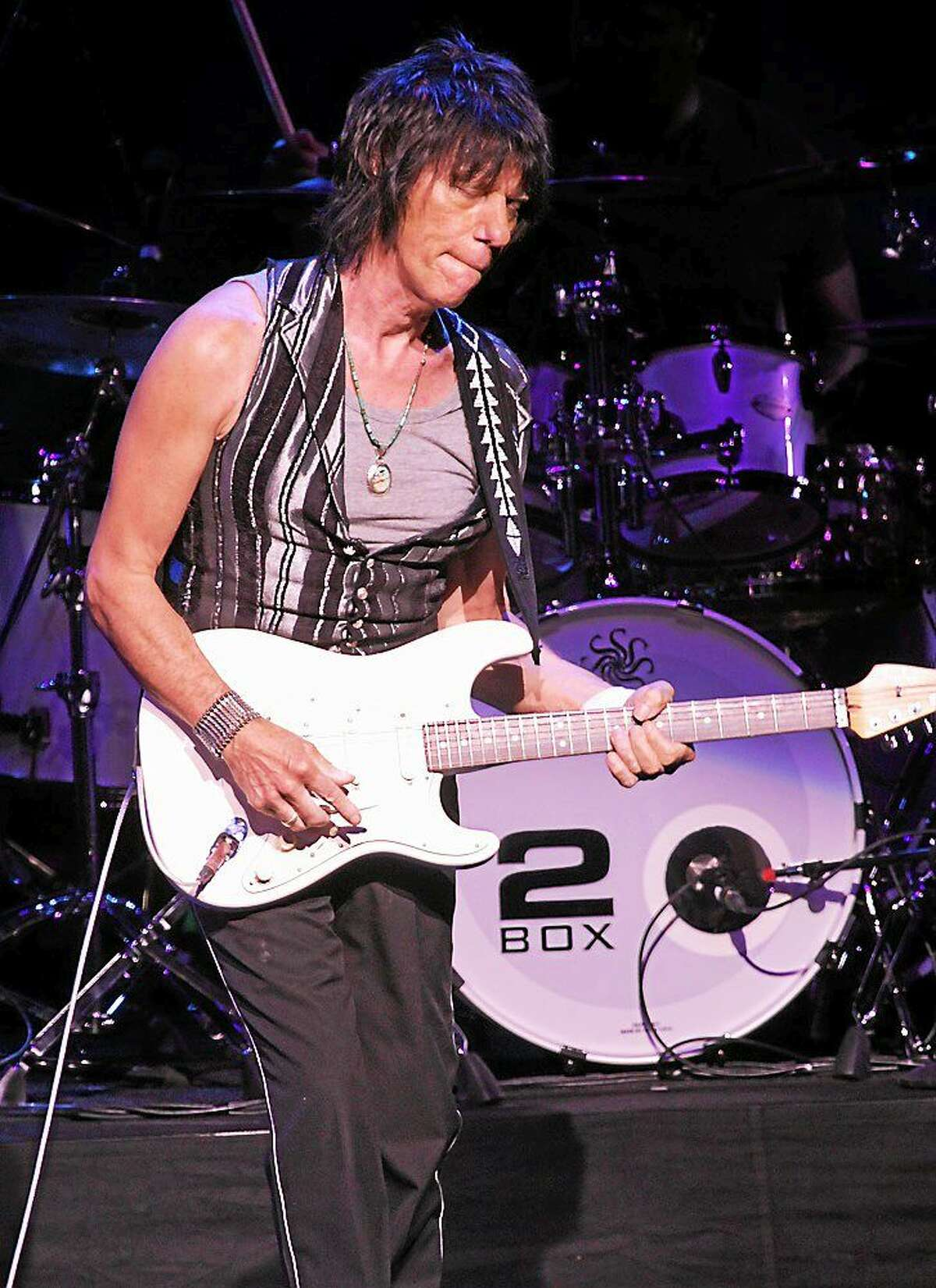 Photo by John Atashian Rock guitarist extraordinaire Jeff Beck is shown performing on stage during his concert in the Grand Theater at the Foxwoods Resort & Casino, Aug. 31. Beck is one of the three guitarists to have played with The Yardbirds, the other two being Eric Clapton and Jimmy Page. Beck and his band are releasing a new studio cd later this year. The new, still-unnamed release will be Beckís first studio album since 2010's successful ìEmotion & Commotionî, which peaked just outside the Top 10 on Billboardís albums chart.