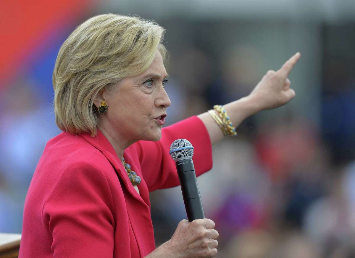 In this photo taken Aug. 27, 2015, Democratic presidential candidate Hillary Rodham Clinton speaks in Cleveland. The State Department is expected to release roughly 7,000 pages of former Secretary of State Hillary Rodham Clinton's emails later Monday, including about 150 that have been censored because they contain information that has now been deemed classified.