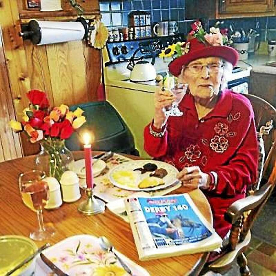 Bernice 'Bennie' Madigan, pictured here on Derby Day this past May in her home in Cheshire, Mass., died early Saturday morning, aged 115 years, 163 days. She was the fifth-oldest person in the world. (Elaine Daniels ó Courtesy Photo) Photo: Journal Register Co.