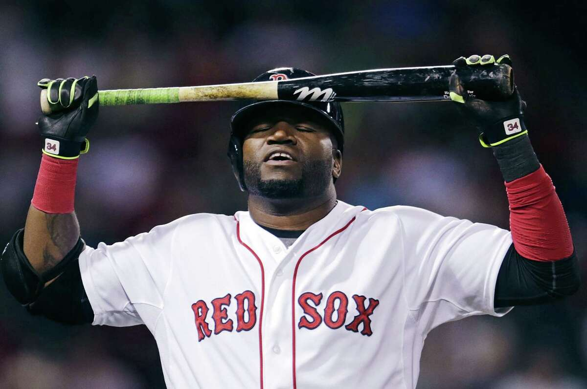 David Ortiz reacts after popping out in the eight inning.