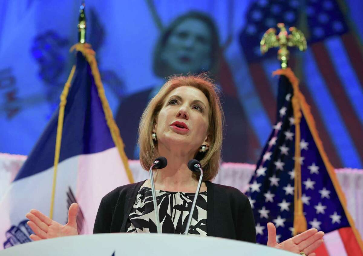In this April 25, 2015 photo, former Hewlett-Packard CEO Carly Fiorina speaks at the Iowa Faith & Freedom 15th Annual Spring Kick Off in Waukee, Iowa.