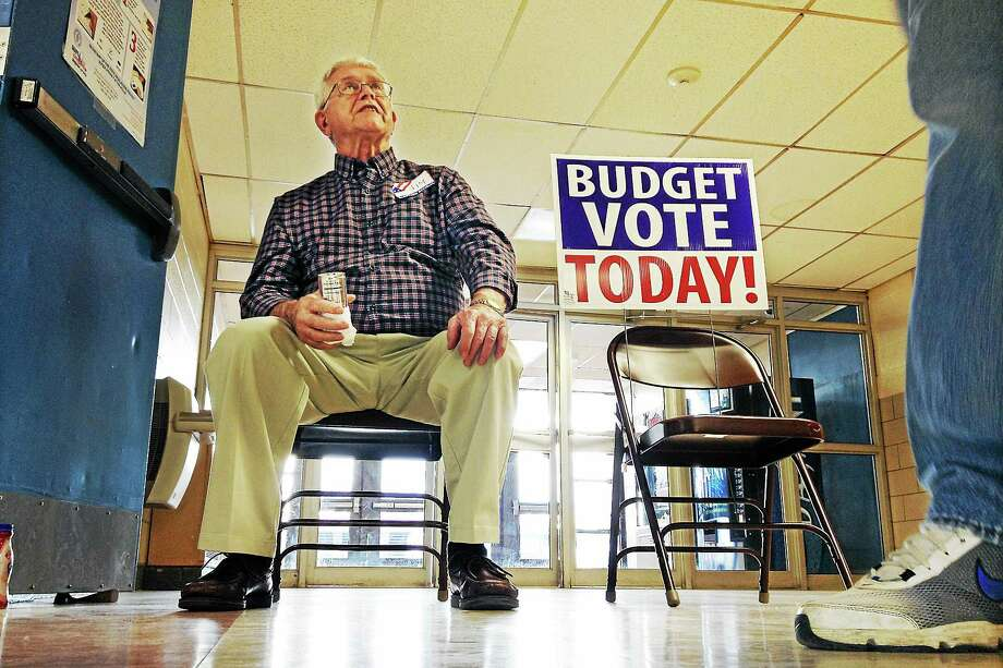 East Hampton voters turned out Tuesday for the budget referendum. Photo: Catherine Avalone — The Middletown Press