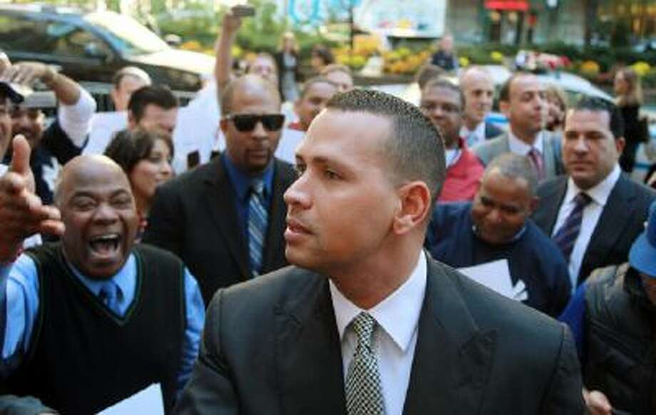 Alex Rodriguez arrives at the MLB offices on Oct. 1 2013.