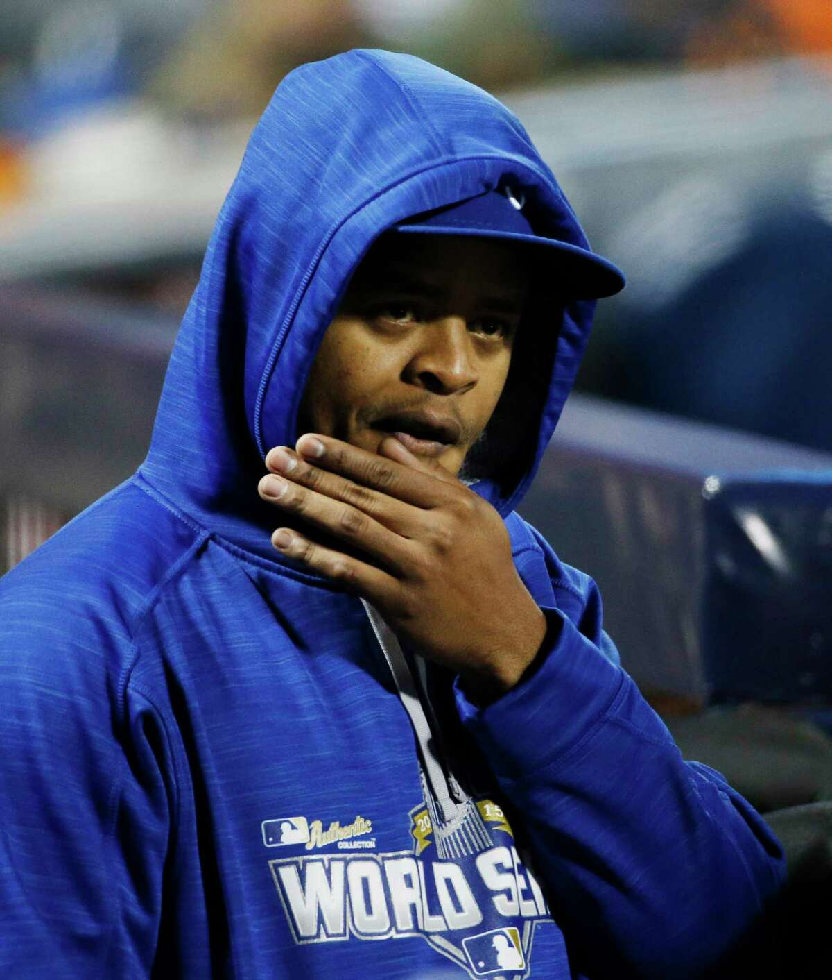 Royals pitcher Edinson Volquez watches his team during the second inning of Game 4 of the World Series on Saturday.