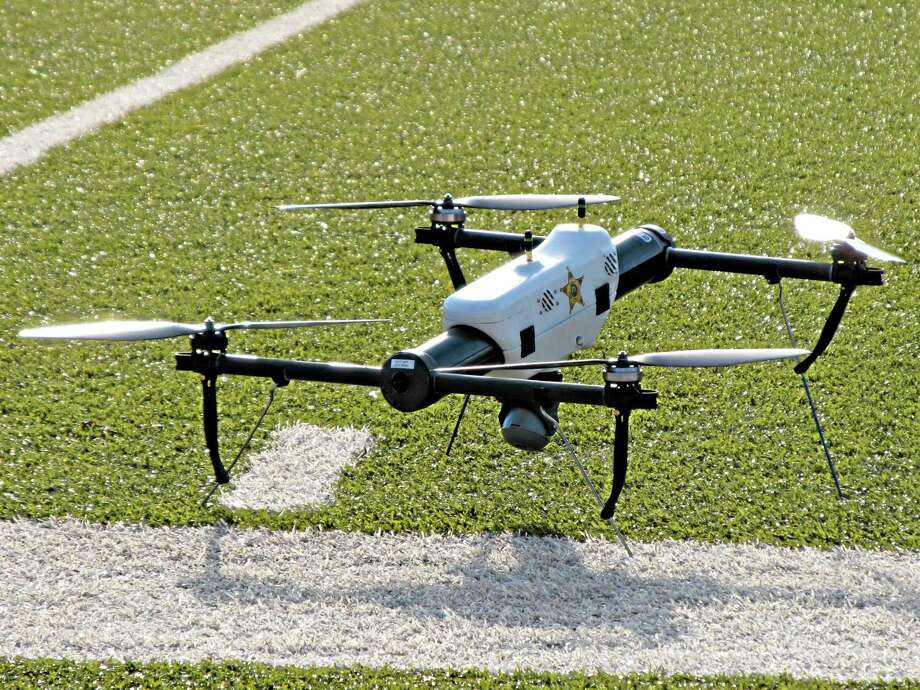 In this May 14, 2013, photo, one of several small drones designed for use by law enforcement and first responders is shown at University of North Dakota in Grand Forks, North Dakota. Photo: The Associated Press — Minnesota Public Radio, Dan Gunderson  / Minnesota Public Radio