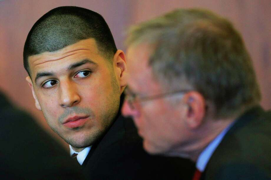 Former New England Patriots tight end Aaron Hernandez attends a pretrial hearing in Fall River, Mass., Dec. 22. Photo: Brian Snyder — The Associated Press  / Pool Reuters