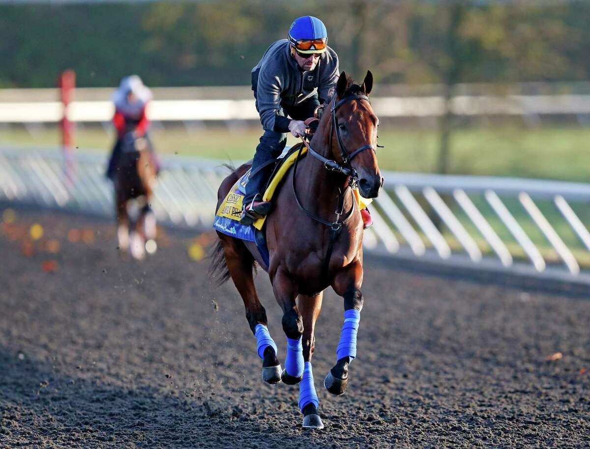 Triple Crown winner American Pharoah is ridden by exercise rider Jorge Alvarez during a workout for the Breeders' Cup Classic Thursday at Keeneland race track in Lexington, Ky.