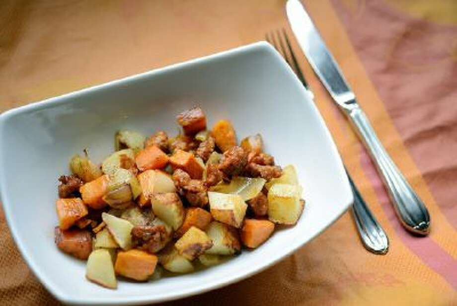 Roasted Russet and Sweet Potato Hash With Chorizo.