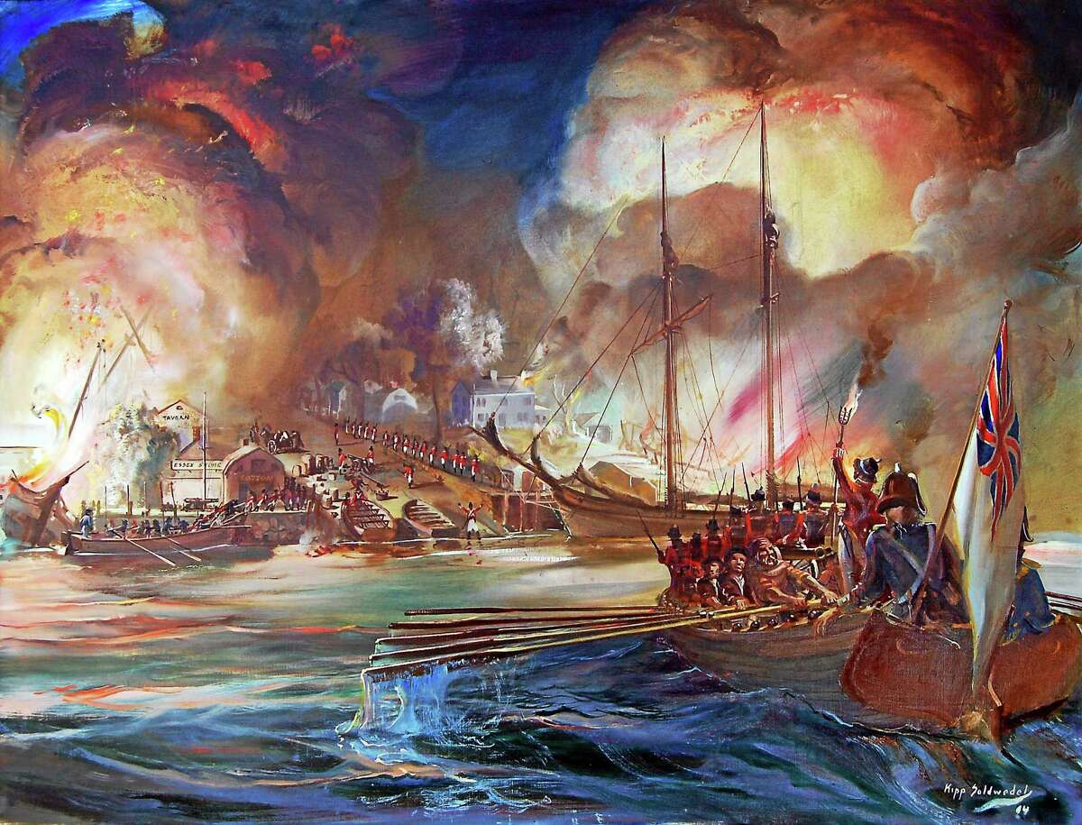Fires lit up the night sky when the British landed in Essex. Above, a Soldwell painting of a ship in Essex harbor.